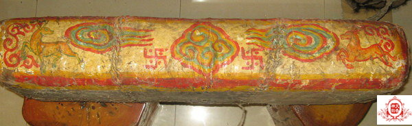 50年代 (1950) 活佛開光供佛藏茶 氂牛皮包 精美藝術品