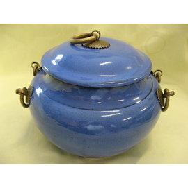 雅竹軒茶舍★紫砂 如意銅把藍釉 茶罐 茶倉 茶甕