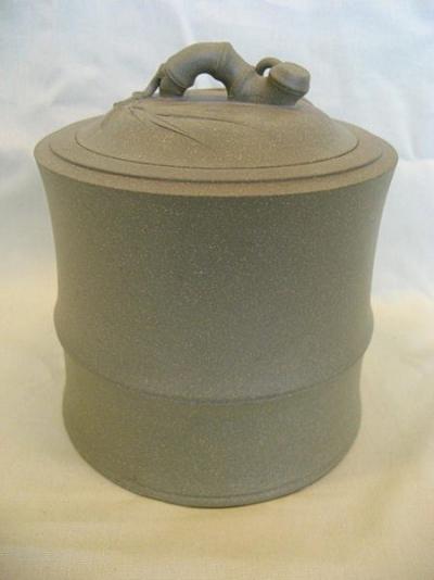 高檔 茶罐 竹節 茶倉 茶甕 茶葉罐 做壺的料做的 綠豆泥